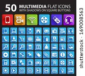 50 multimedia flat icons with...   Shutterstock .eps vector #169008563