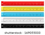 set of colorful rulers on a... | Shutterstock . vector #169055033