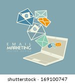 email marketing over blue background vector illustration