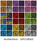 Collection of 36 different animal print backgrounds in various colors. Eps 10 Vector. - stock vector