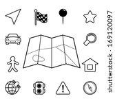 navigation icons set  contour...