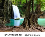 beautiful waterfall at erawan... | Shutterstock . vector #169131137