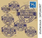 Grunge rubber stamp set with names of India cities, vector illustration