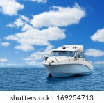 Motor Boat In Blue Sea Or Ocea...