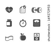 fitness icons set of heartrate...