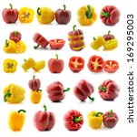 set of a fresh juicy peppers... | Shutterstock . vector #169295003