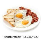 plate of breakfast with fried... | Shutterstock . vector #169364927