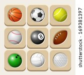 sport balls icon set. vector... | Shutterstock .eps vector #169381397