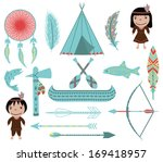 Native American Symbols and Clip arts on White Background