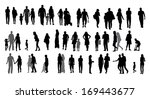 set of silhouette walking... | Shutterstock .eps vector #169443677