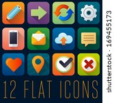 set of 12 flat icons   2