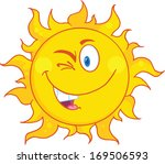 winked sun cartoon mascot... | Shutterstock . vector #169506593