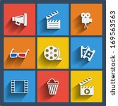 set of 9 cinema vector web and... | Shutterstock .eps vector #169563563