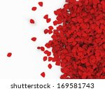 Stock photo heap of red rose petals isolated on white background with place for your text 169581743