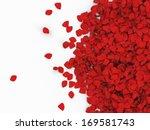 heap of red rose petals...   Shutterstock . vector #169581743