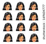 woman face expressions | Shutterstock .eps vector #169604777