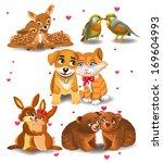 animals in love | Shutterstock .eps vector #169604993