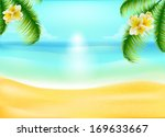 palm trees with tropical... | Shutterstock .eps vector #169633667