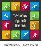winter sports icons set of ski...