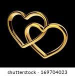 3d golden hearts connected... | Shutterstock . vector #169704023