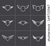 vector black shield icons set. | Shutterstock .eps vector #169715567