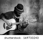 Man Playing Guitar. Black And...