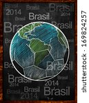 earth ball brasil on blackboard | Shutterstock . vector #169824257