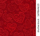 seamless pattern of hearts with ... | Shutterstock .eps vector #169864613