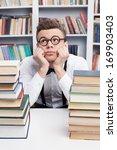 nerd dreaming. bored young man... | Shutterstock . vector #169903403
