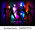 silhouettes of party people... | Shutterstock .eps vector #169907573