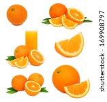 Set Ripe Orange Fruits With...