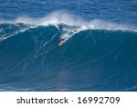 Surfer On A Giant Wave At Jaws...
