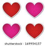 set of four red and pink... | Shutterstock . vector #169954157