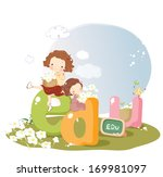 two girls with flowers  sit on... | Shutterstock . vector #169981097