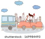 a man driving a car on a city... | Shutterstock . vector #169984493