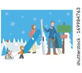a family embarks on a snow... | Shutterstock . vector #169984763