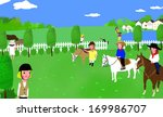 people riding horses outside in ... | Shutterstock . vector #169986707