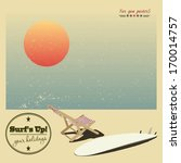 surf and sun lounger on the... | Shutterstock .eps vector #170014757
