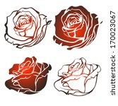 Set of silhouettes of roses on white background. Vector illustration.