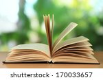 opened book on bright background | Shutterstock . vector #170033657