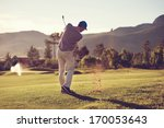 golfer hitting golf shot with... | Shutterstock . vector #170053643