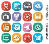 trendy flat cinema and movie... | Shutterstock .eps vector #170073017