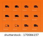 delivery trucks icons on orange ...