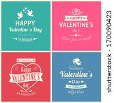 set of four happy valentine's... | Shutterstock .eps vector #170090423