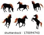 sets of silhouette fire horses  ... | Shutterstock .eps vector #170094743