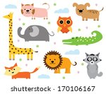cartoon animal clipart set   | Shutterstock .eps vector #170106167
