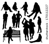 people silhouette set | Shutterstock .eps vector #170112227