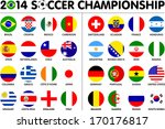 Flags for soccer championship 2014. Groups A to H. 8 groups. 32 nations. 2d circle designs. Carefully designed.