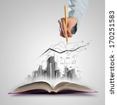 opened book and hand drawing... | Shutterstock . vector #170251583
