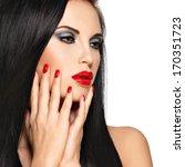 closeup face of a beautiful...   Shutterstock . vector #170351723